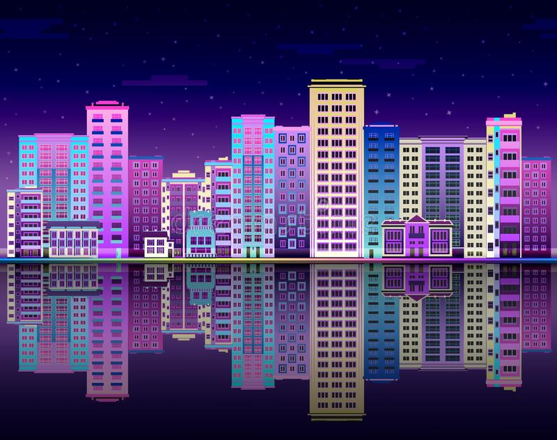 Night city in lights skyline with multistorey buildings standing on river bank and reflection. Night city in lights skyline with multistorey buildings standing stock illustration