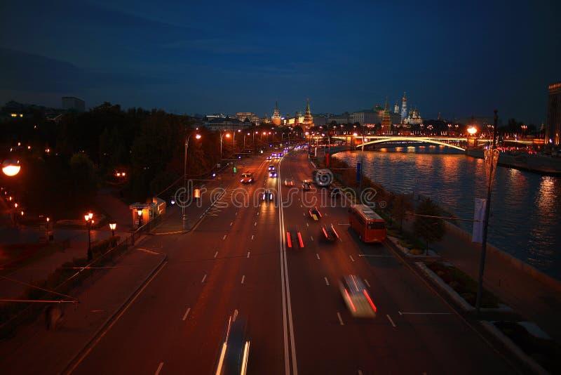 Night city lights of traffic stock image
