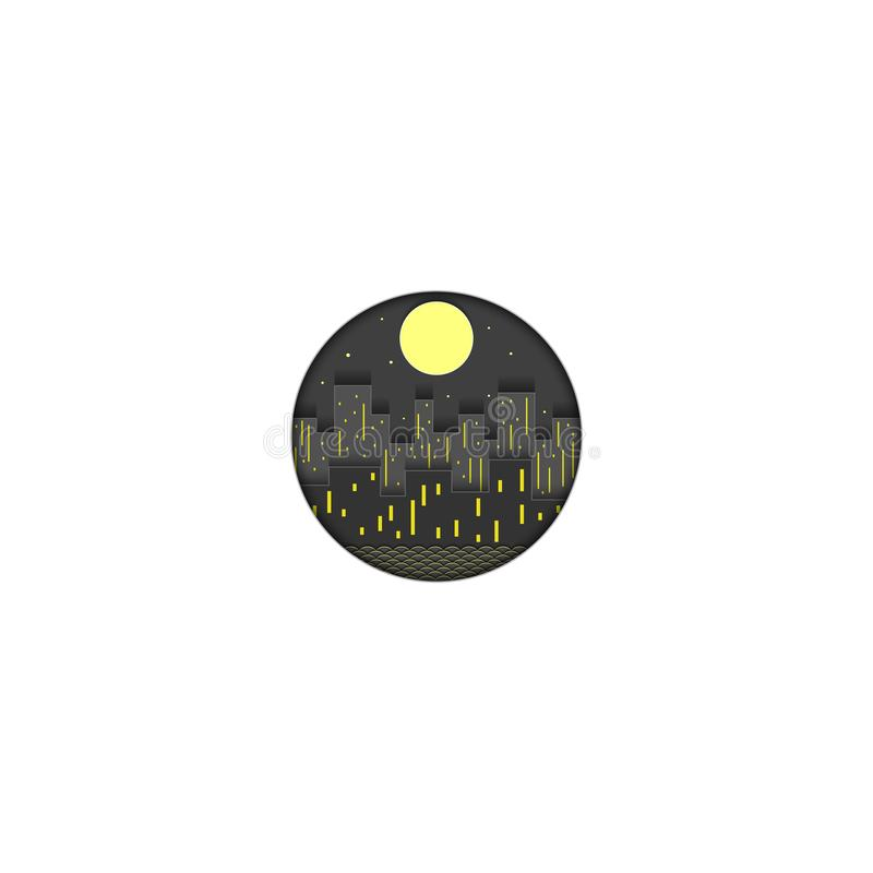 Night city logo cut out of paper, the lights of the evening metropolis with skyscrapers and houses against the background of the. Starry sky and the full moon royalty free illustration