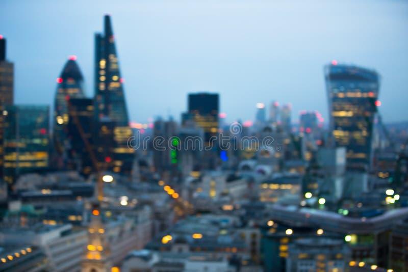 Night city of London view in blur. London. Night city of London view in blur. City street blurry photo, bokeh image. UK London stock image