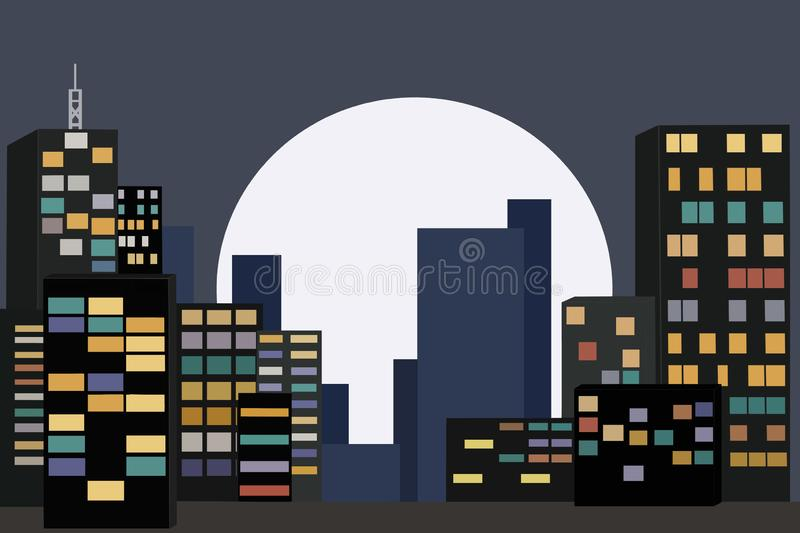 Night city metropolis. On the background of the big moon royalty free illustration