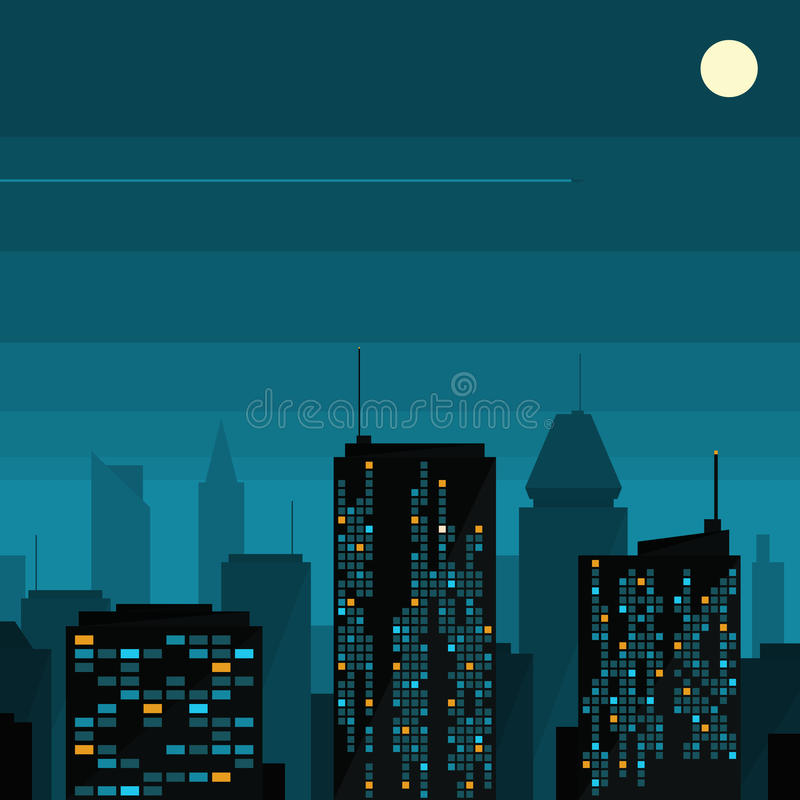 Download Night city with moon stock vector. Image of landscape - 28792002
