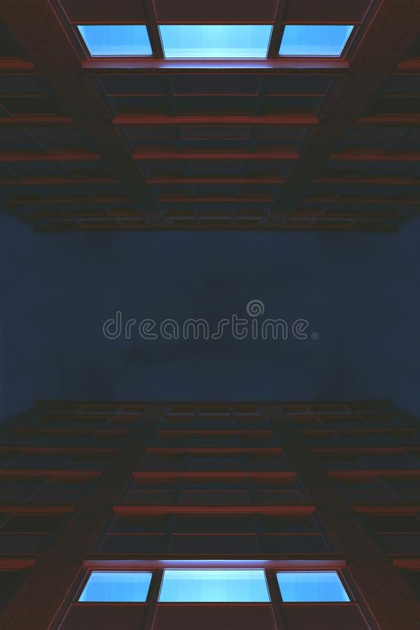 Night in the city. Wallpaper background texture tone colorful minimalism abstract future architecture building house office illumination neon red blue style stock image