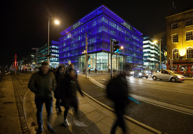 Night city with office buildings royalty free stock photo