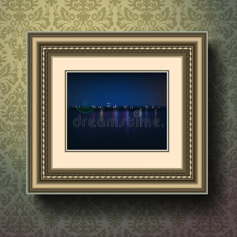 Night city painting in image frame on a wall stock illustration