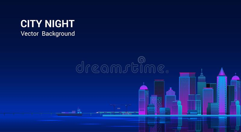 Night city panorama.Cityscape on a dark background. royalty free stock image