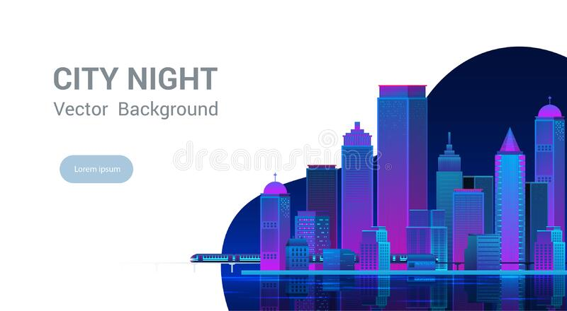 Night city panorama.Cityscape on a dark background. stock photo