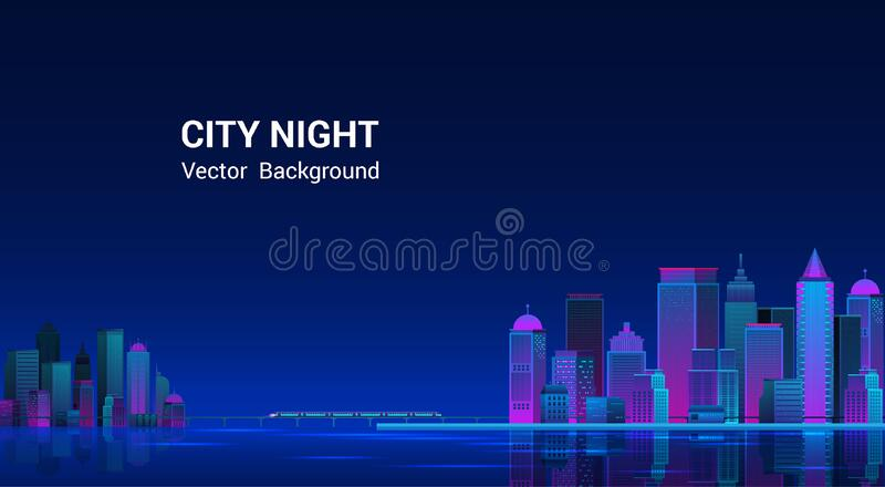 Night city panorama.Cityscape on a dark background. stock photos