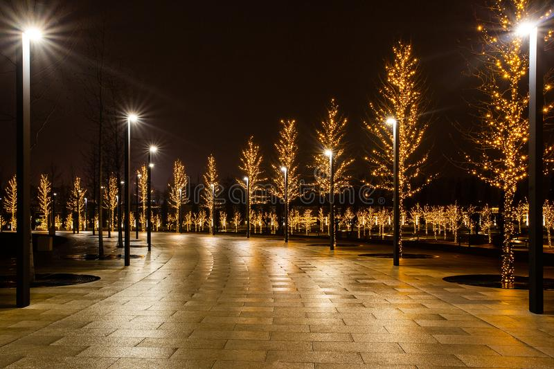 Night city park in the city of Krasnodar, Russia. The park is made in the same design style and contains a lot of geometry and. Rhythms. Stadium Krasnodar holds stock photo