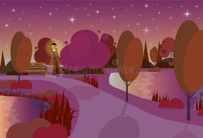 Night city park wooden bench street lamp river lawn trees on city buildings template background flat. Vector illustration stock illustration