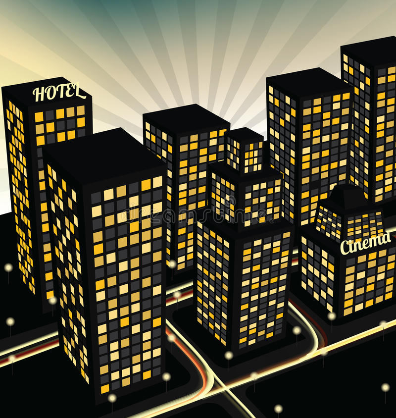 Night city in perspective stock illustration