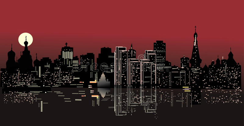 Download Night city with reflection stock illustration. Image of black - 5915635