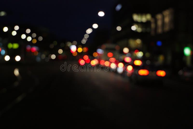 Night city road. Traffic lights of the night city road stock image
