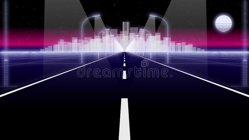 Night city road 80 Retro Background Loop 3d render royalty free stock images
