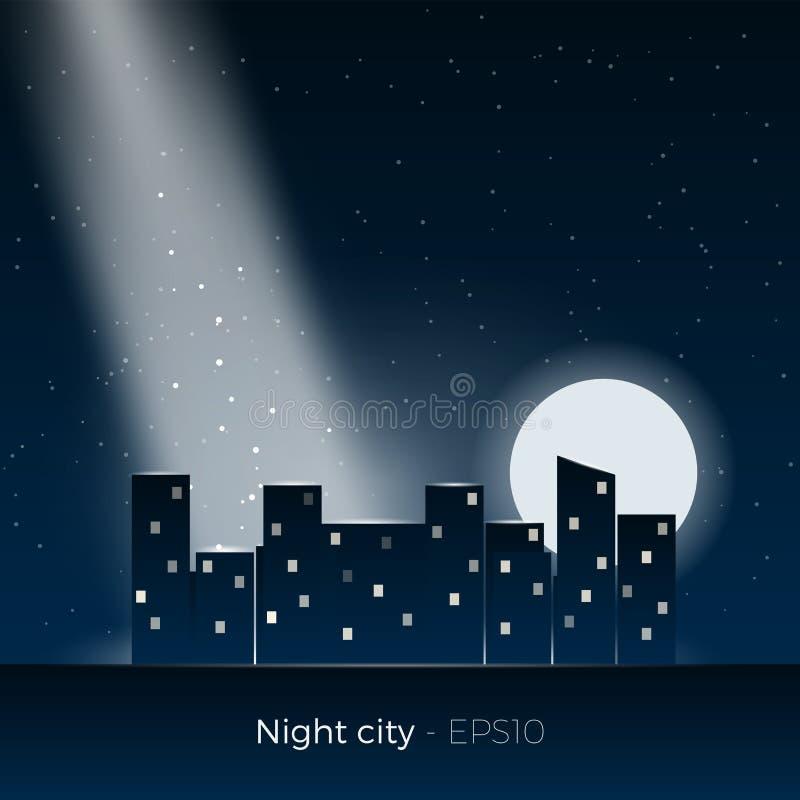 Night city silhouette stock illustration