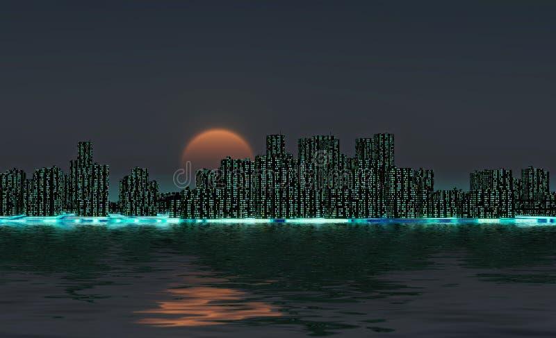 Night city skyline stock illustration