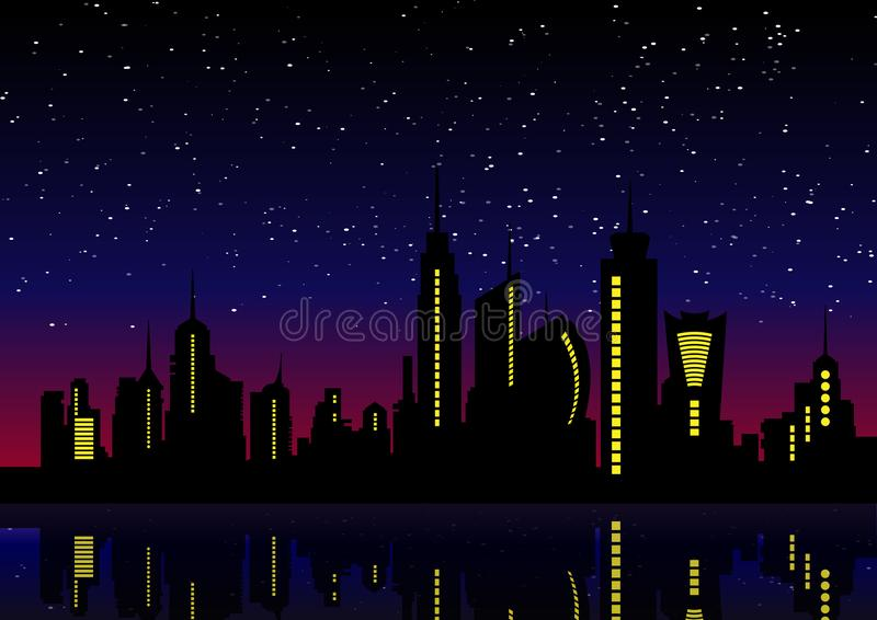 Night City Skyline. Cityscape Background, Beautiful night stock illustration