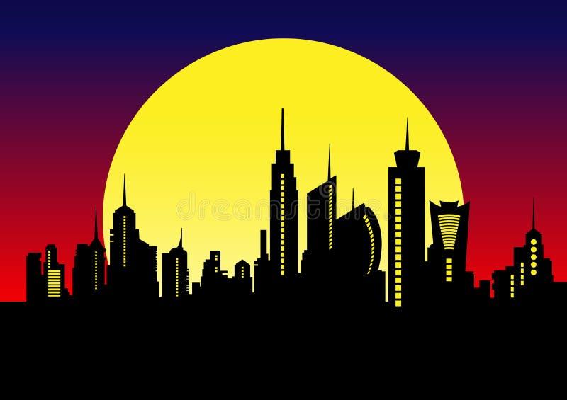 Night City Skyline. Cityscape Background, Beautiful night vector illustration