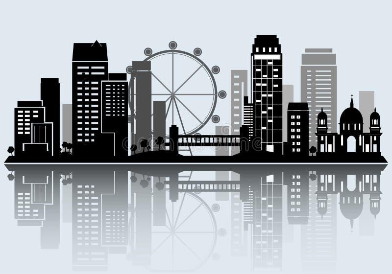 Night City skyline design. Vector silhouette. Night City skyline design. Vector illustration royalty free illustration