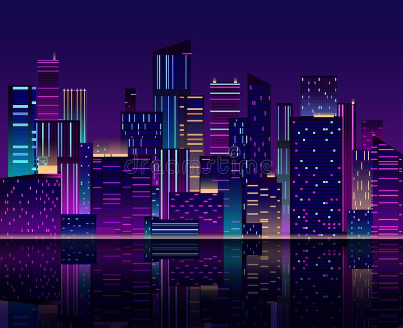 Night city skyline. Skyscraper with neon lights. Urban cityscape with buildings. 80s retro vector background. Panoramic city skyline, architecture cityscape vector illustration