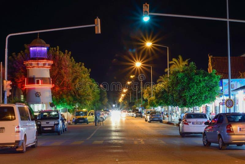 Night city suburb of Kiris in Kemer. Turkey. Night city suburb of Kiris in Kemer stock photos