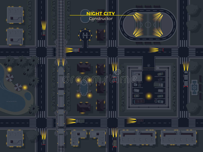 Night City Top View royalty free illustration