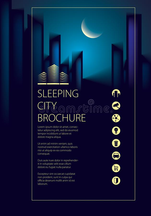 Night city traveling tourist guide book. Brochure, flyer, cover, poster or guidebook template. stock illustration