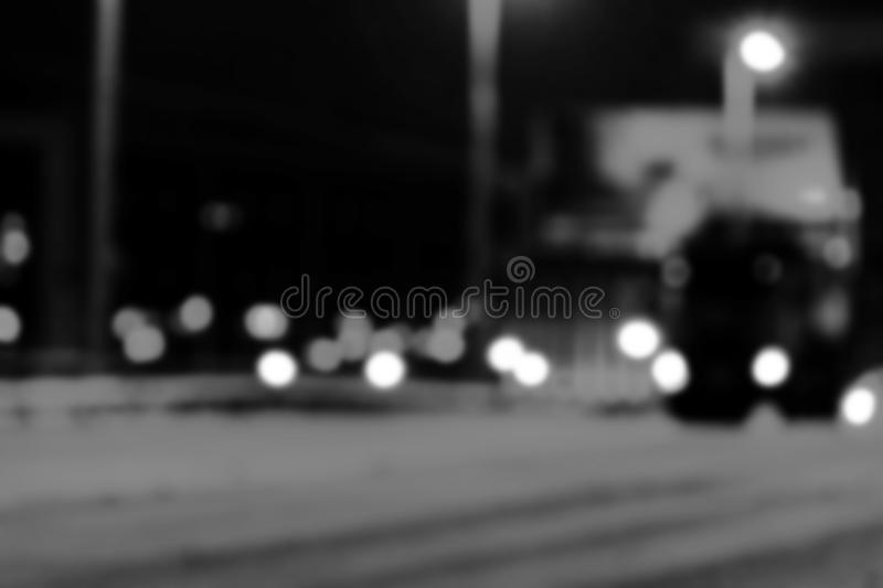 Night city view in blur. City Speed Traffic lights blurry photo. Street life bokeh image. Street with traffic and cars defocused i. Mage. Road in big city bokeh royalty free stock photography