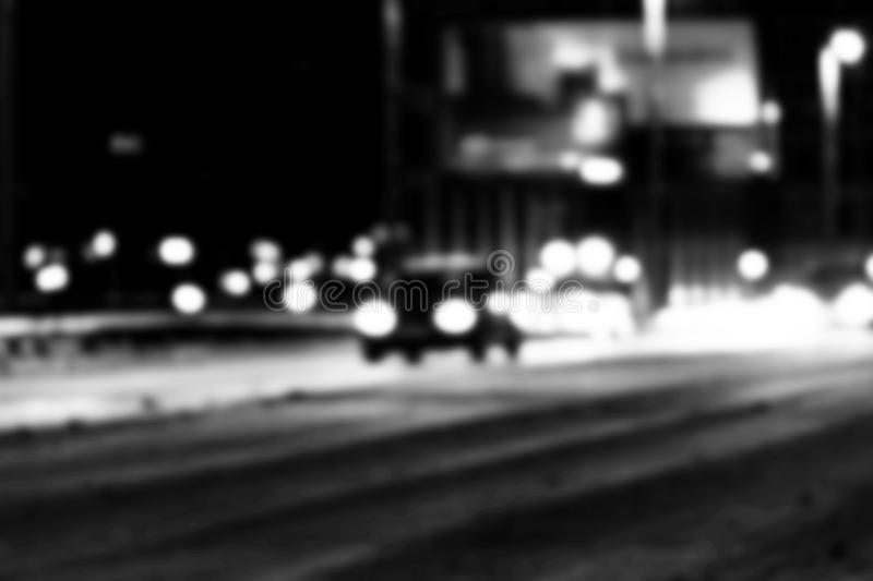 Night city view in blur. City Speed Traffic lights blurry photo. Street life bokeh image. Street with traffic and cars defocused i. Mage. Road in big city bokeh stock photo