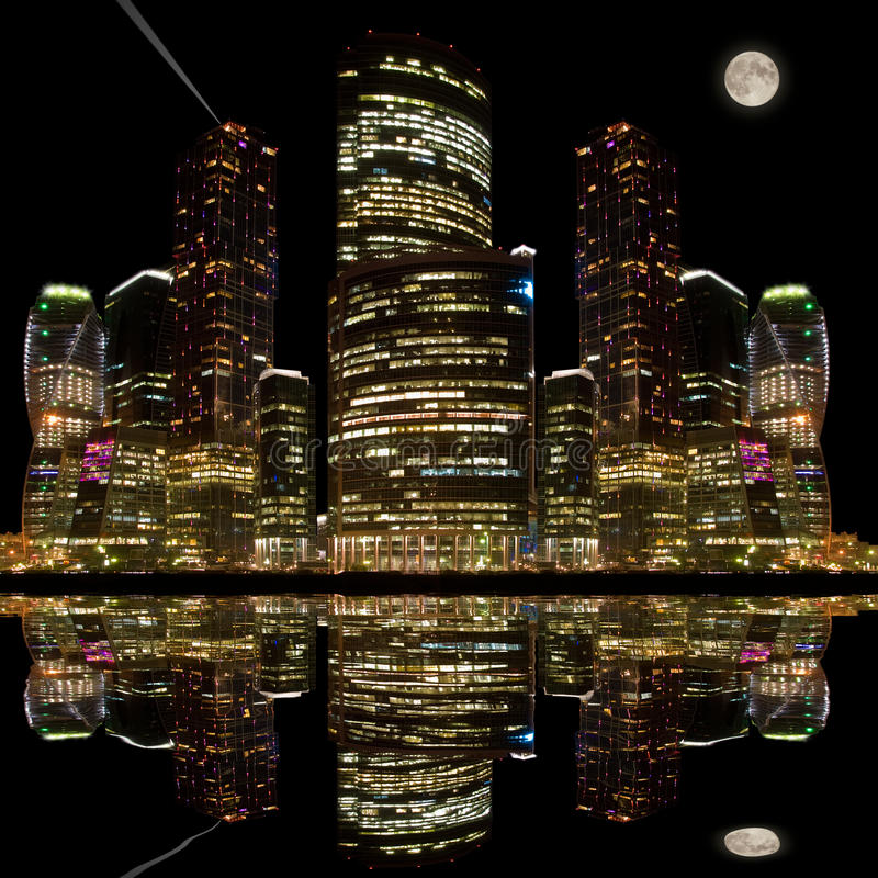 Night city view. Night city view with its reflection in the water of the river stock images