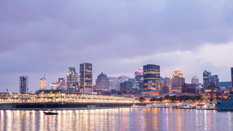 Night City View of the old port of Montreal, Montreal, Quebec, Canada royalty free stock photos