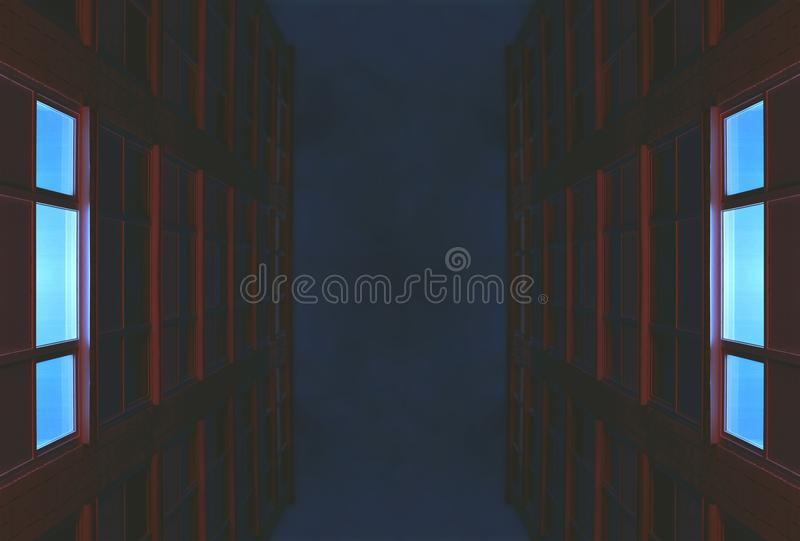 Night in the city. Wallpaper background texture tone colorful minimalism abstract future architecture building house office illumination neon red blue style royalty free stock photos