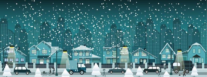 Night city in winter stock illustration