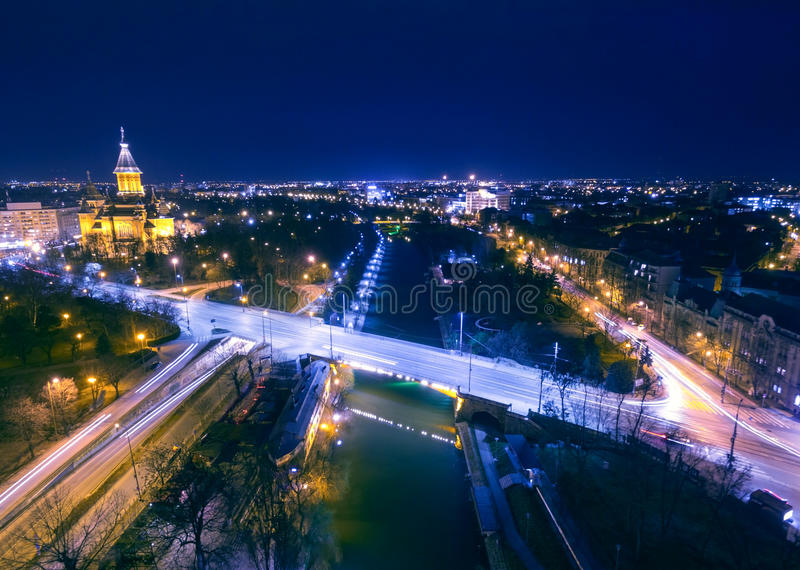 Night cityscape aerial view from Timisoara. European city at night seen from a drone - Timisoara, Romania stock photography
