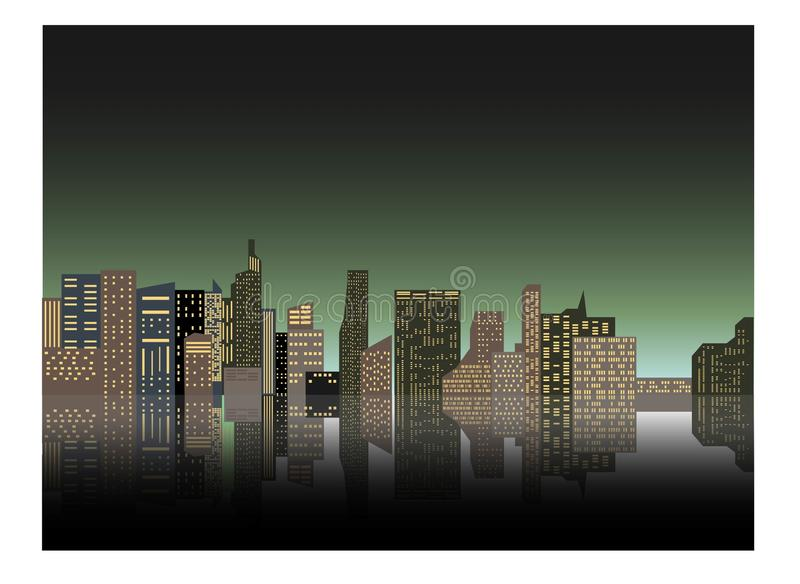 Night cityscape against the background of the night sky. A long city street with lights on. Vector illustration.  royalty free illustration
