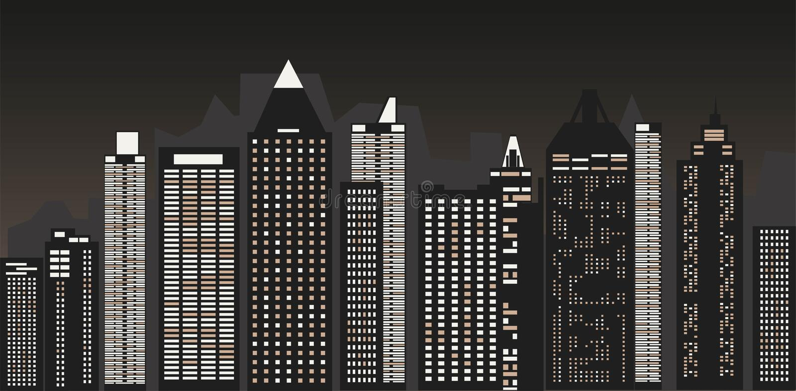 Night cityscape against the background of the night sky . A long city street with lights on. Vector illustration. Night cityscape against the background of the royalty free illustration