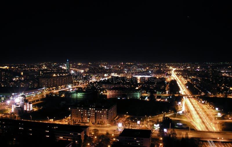 Night cityscape, Belgrade. Night scape of Belgrade from the West Gate stock image