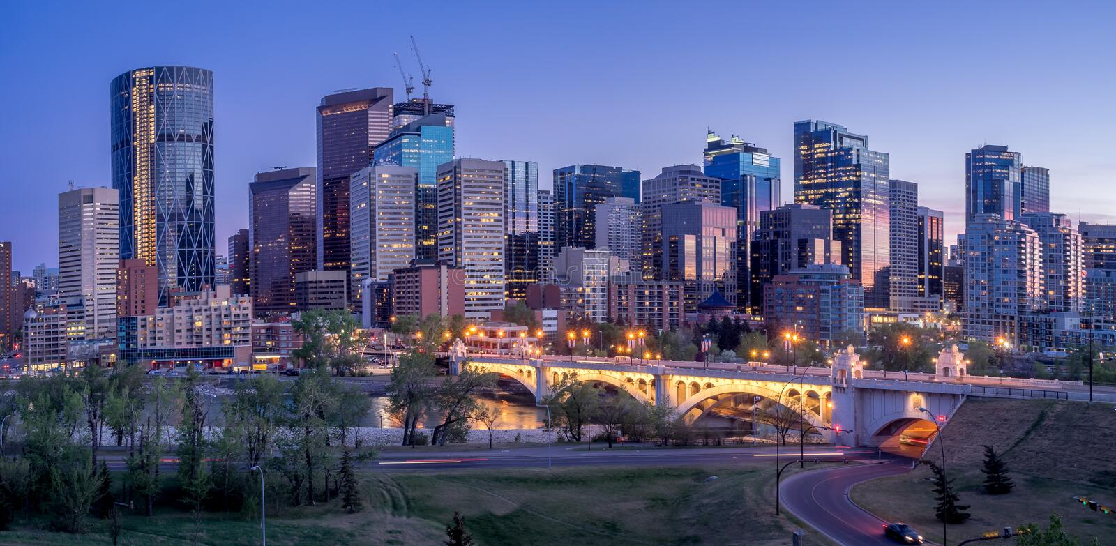Night cityscape of Calgary, Canada. Buildings in Calgary Canada at night royalty free stock image