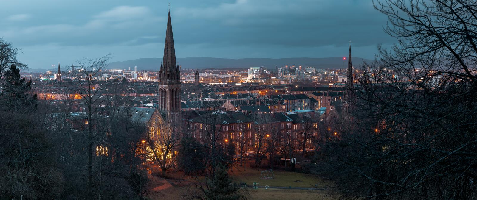 A night CityScape of Glasgow From the South Side stock photography