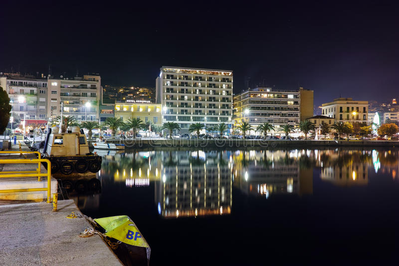Night cityscape of Kavala and Reflection in Aegean sea, Greece. Night cityscape of Kavala and Reflection in Aegean sea, East Macedonia and Thrace, Greece royalty free stock photo