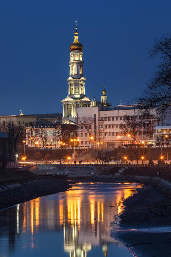 A night cityscape of Kharkiv stock images