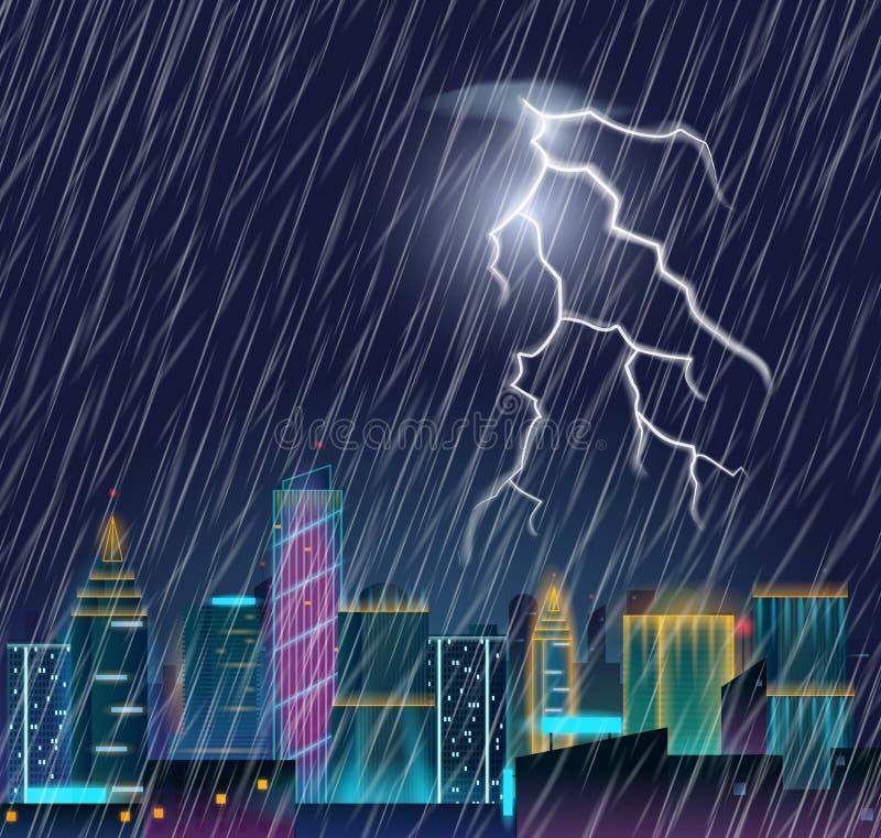 Night cityscape with lightning flash and heavy rain. vector illustration