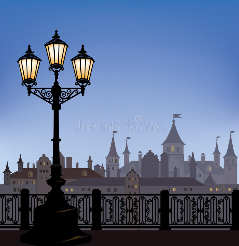 Night cityscape with luminous street lapm. Old street. Night cityscape with luminous street lantern. Old street light in european town with castle on background royalty free illustration