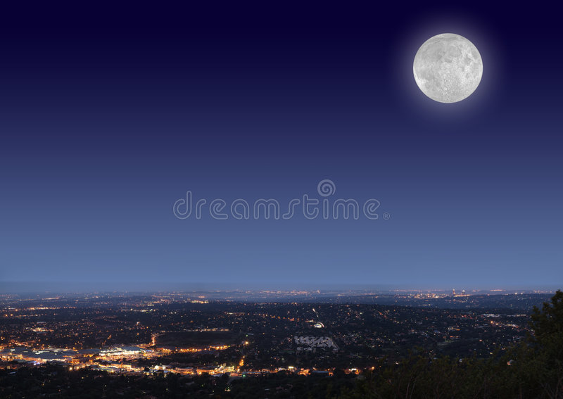 Download Night cityscape with moon stock photo. Image of light - 1671922