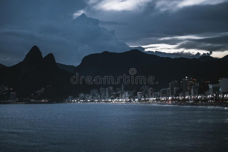 Night cityscape of Rio de Janeiro with bay stock images