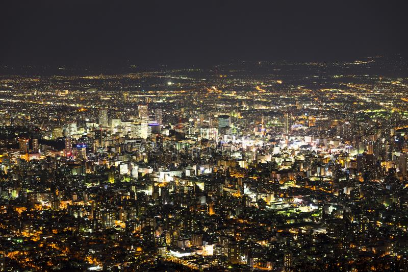Night cityscape of Sapporo town from Mt. Moiwa observation point stock photography