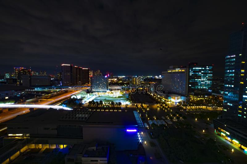 A night cityscape at the urban town in Ariake Tokyo wide shot stock photos