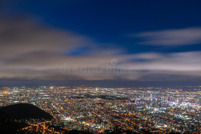 Night cityscape view of Sapporo city royalty free stock images