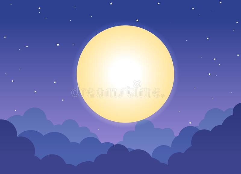 Night cloudy sky background with full moon and shining stars vector illustration