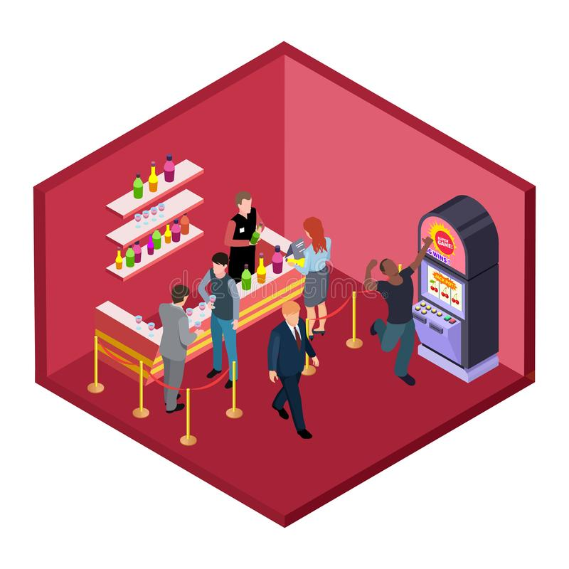Night club bar with game zone isometric vector illustration stock illustration